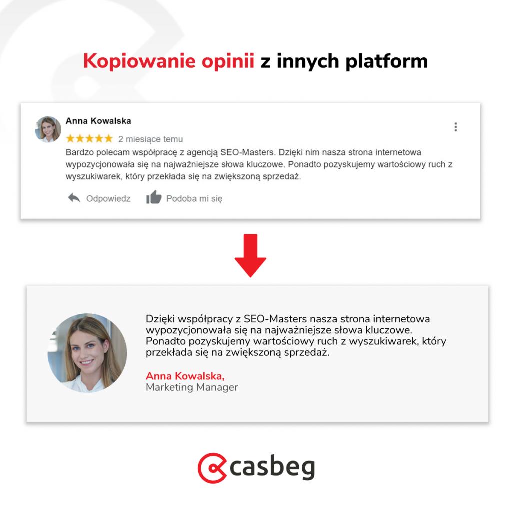 Kopiowanie opinii klientów z innych platform